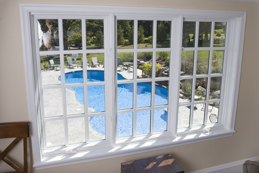 The upstairs room has a great view of the pool below.