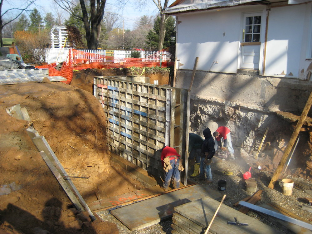 Set up of forms for poured basement walls