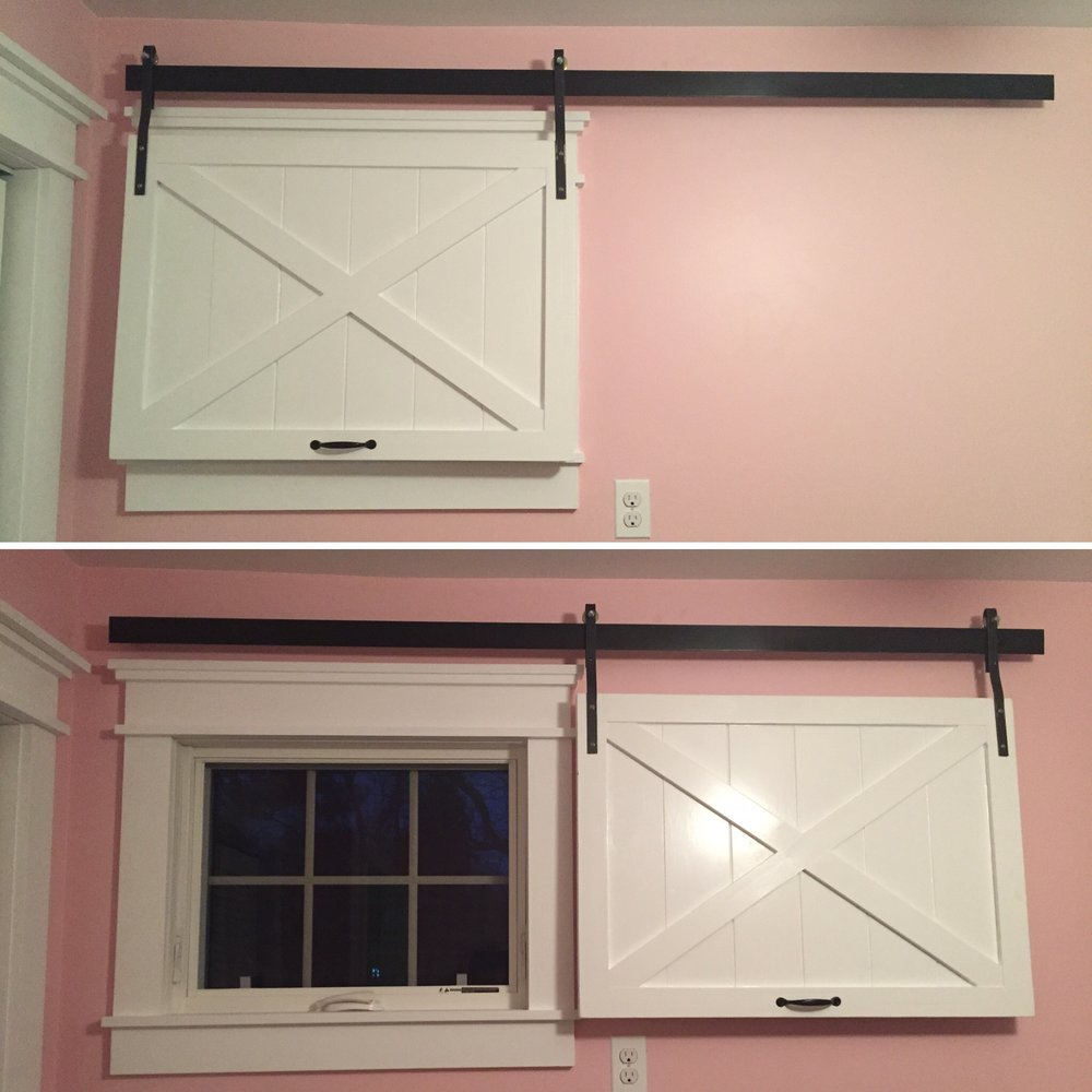 As part of my on-going  personal home renovation ,I made this sliding barn door window covering during the nursery preparation for my youngest daughter,The pre-made hardware at the store was outside my budget, so I made my own custom track and hangers in the shop.