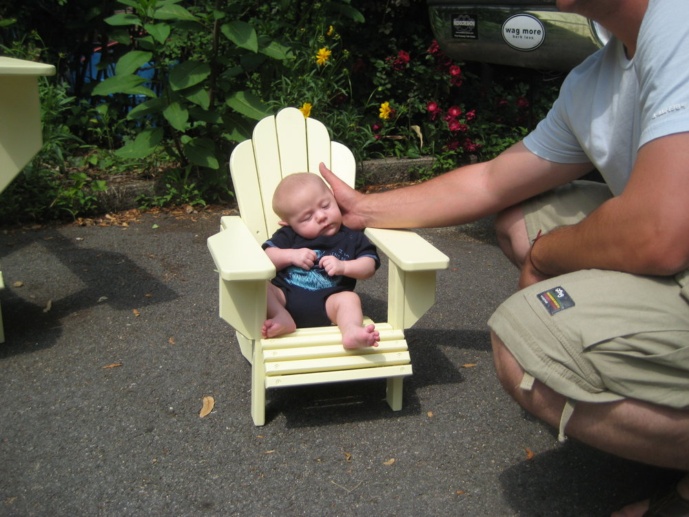 The half scale chair and its future occupant.