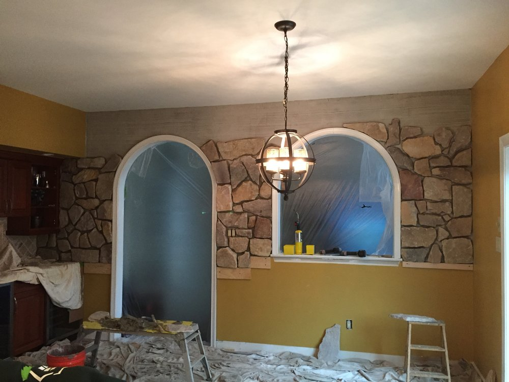 """We used a 2"""" veneer stone to match some existing stone accents in the home."""