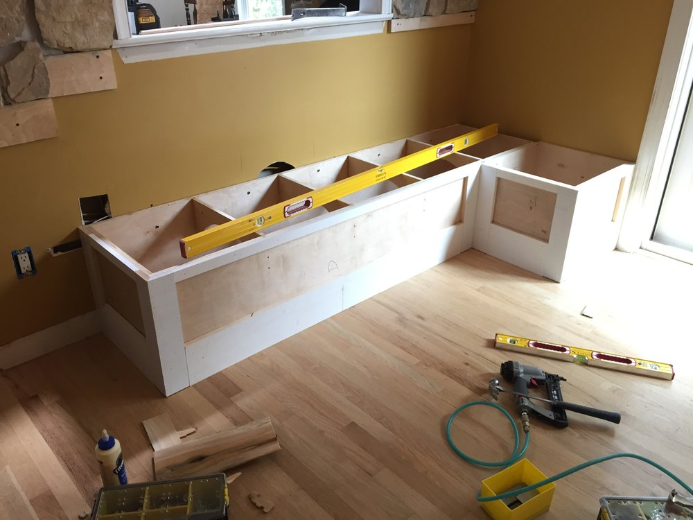 After the stonework was complete, I began work on a built-in bench seat.