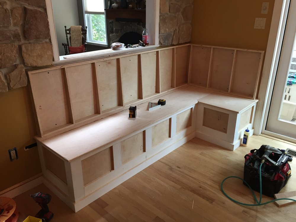 With the bench tops on and the back panels being framed up, it begins to take shape.