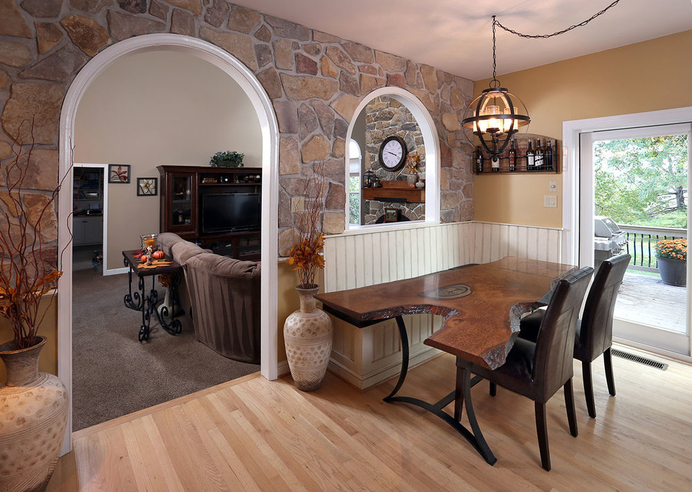 Another finished shot of the entire area. Through the arched window you can see the existing stone we matched for this project.