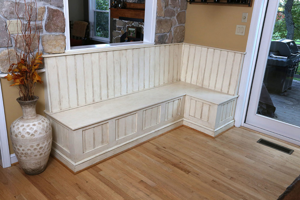 The finished bench seating