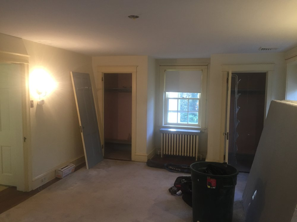 Ann Forster of  Ann Decker Design  brought this bedroom renovation job to me. Her clients wanted to update their master bedroom with an enlarged closet and some built-ins. These are the two original closets. A new, larger closet will go in place of the left-hand closet, and the right-hand closet will have the door swing reversed for easier access.