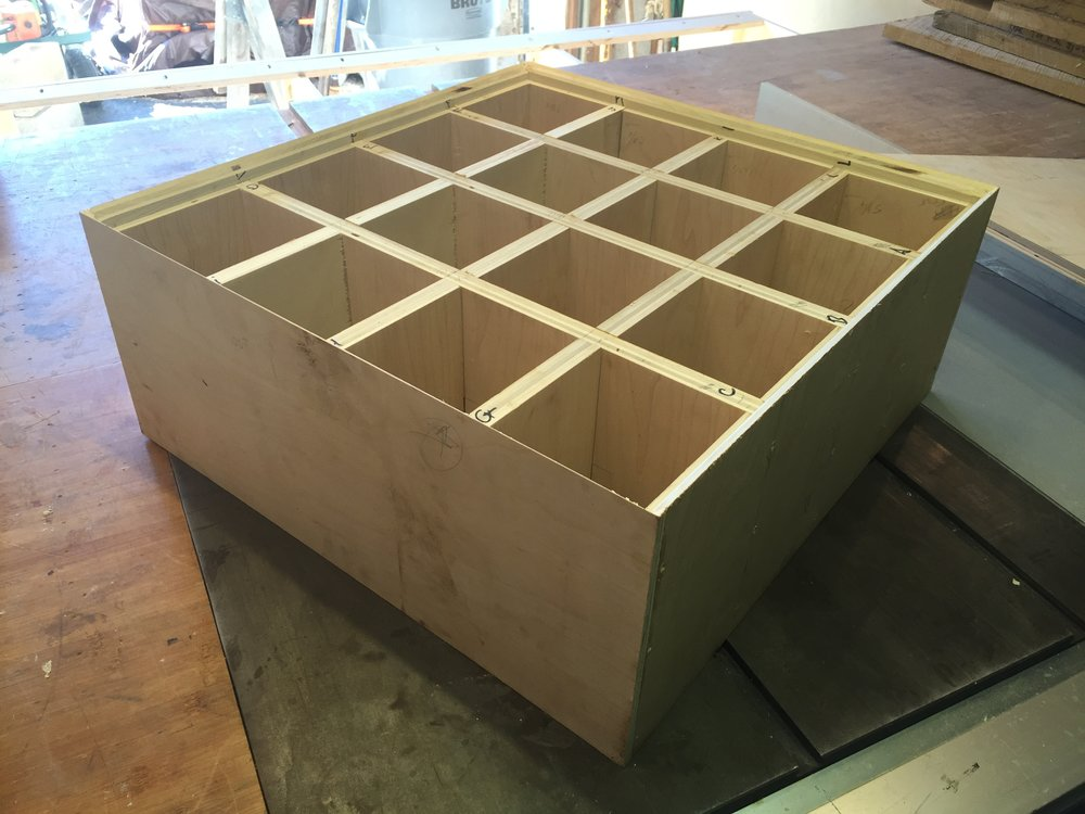 Part of the project required me to build a plywood torsion box. Here it is without the lid.
