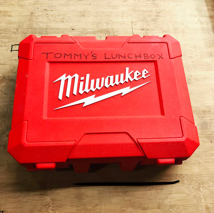 Sometimes my custom solutions aren't just for my clients. Tommy, my helper, came to work one day without a lunch box, so I quickly made up one for him out of an old Milwaukee drill case.