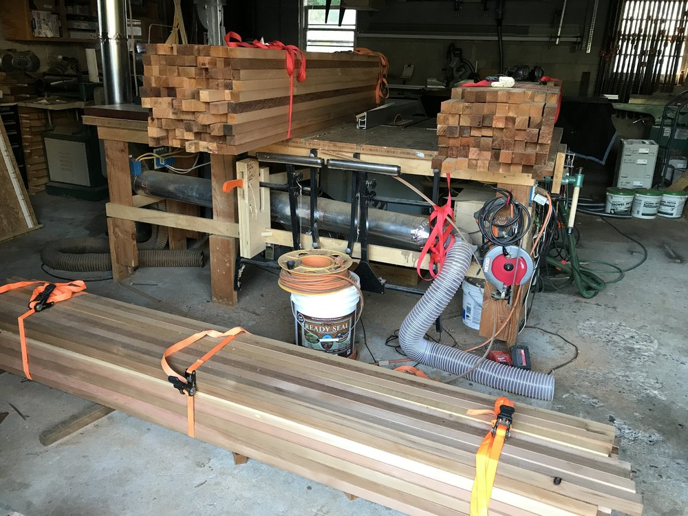 I had previously made a  cedar grid fence  for a client, and they asked me to create a smaller version for the front of their property. These bundles are the milled cedar ready to be shaped into the individual grid pieces.