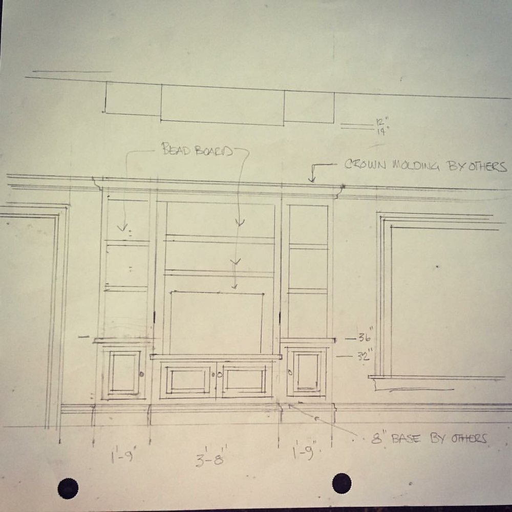 A client came to me with this design they had drawn for a set of built ins for their master bedroom.