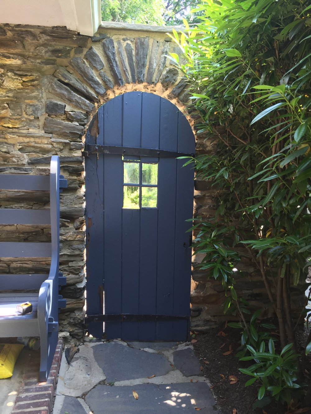 Client had a garden door inside a stone wall that divided the front and rear yards. It had become dilapidated over the years, so they asked me to build a new door to replicate it.