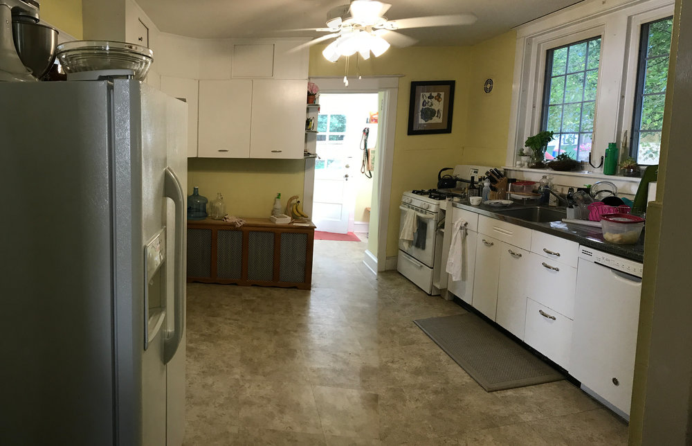 A client contacted me to totally renovate their kitchen and mudroom. This is a before shot looking from the kitchen doorway towards the mudroom.