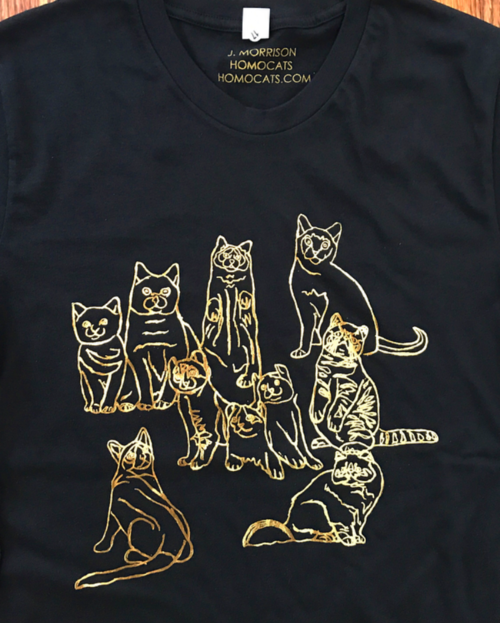 Gold Cat Family Gold Foil T Shirt