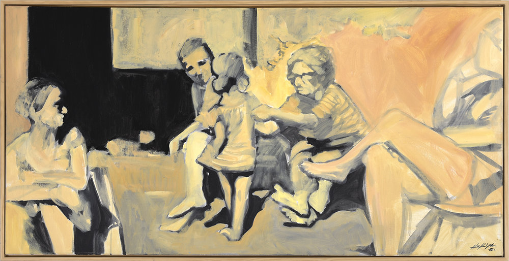 Spanish Family in the Yard, acrylic on canvas, 48 x 24 inches
