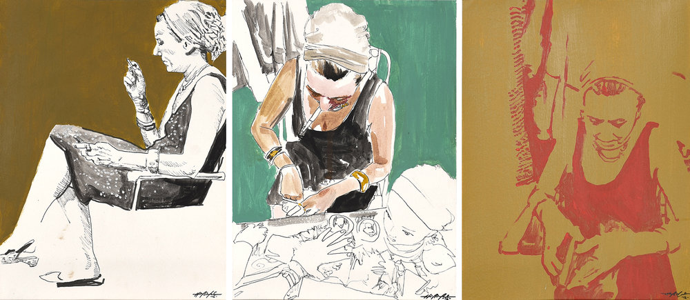 Matilde Sketches, acrylic and ink on paper, 9 x 12 inches