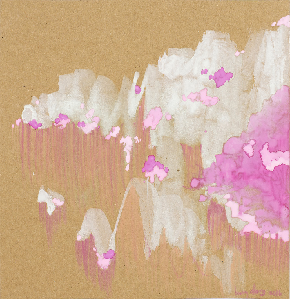 Filling the Brown - Square 10, White and Pink Clouds, 2016