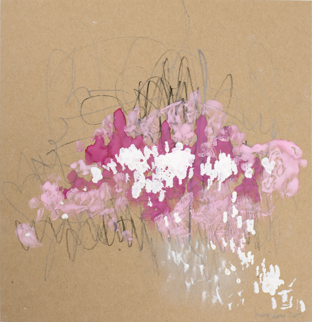 Filling the Brown - Square 14, Pink Blooms, 2017