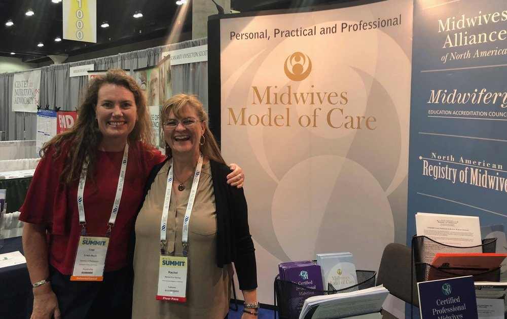 Rachel at the 2018 National Conference of State Legislatures with Trish Doyle, MP, Austrailia who had home births and wanted to tell us how much she supported midwifery!
