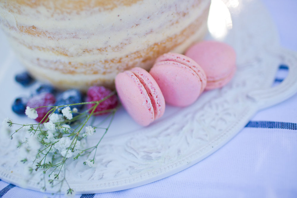 Naked Wedding cake and Signature Macarons