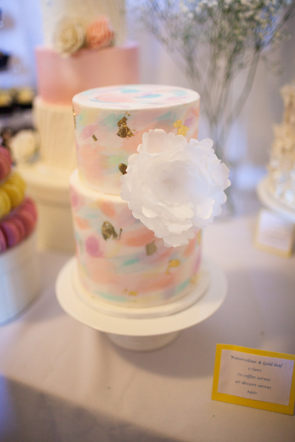 Water Colour wedding cake with a wafer paper Peonie