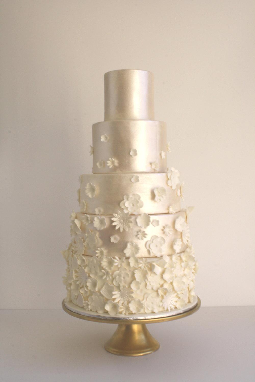 Satin Finish Monochrome 5 tier wedding cake