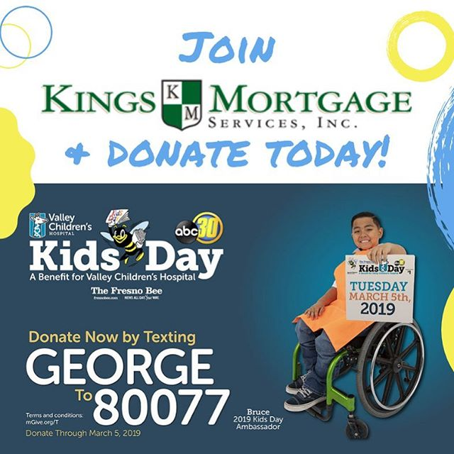 📲 TEXT GEORGE TO 80077 or buy a copy of the Kids Day paper 🗞 @lizettehurtado86 and I will be at the intersection of Peach and Herndon today at 10:30 ☔️ 🌞  #donate #valleychildrenshospital #kingsmortgage #nmls1031832 #local #centralvalleyrealestate #happyhelpers