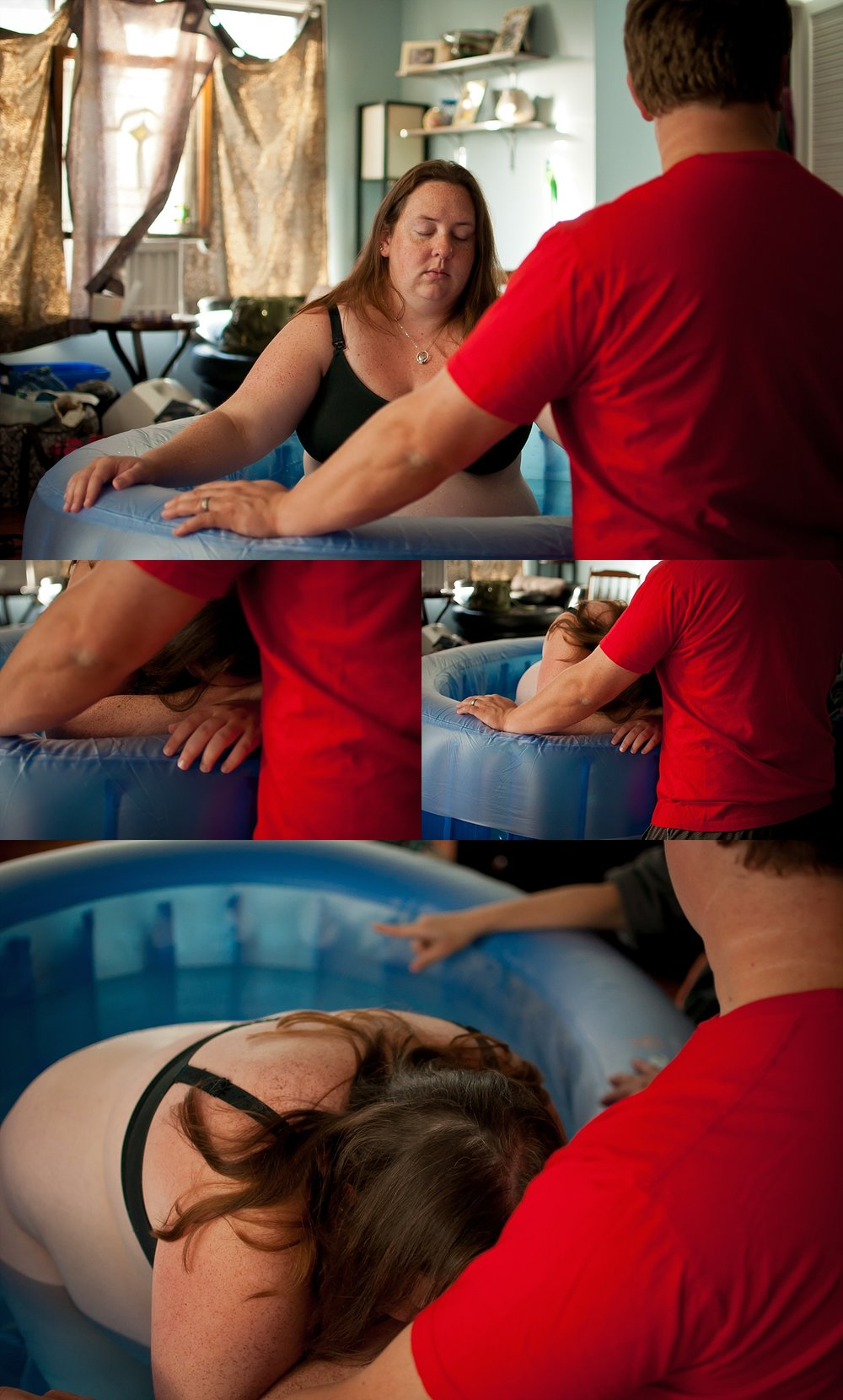Mother labors during photographed home birth in Peoria-Bloomington area. Dad sits at birth pool to offer encouragement.