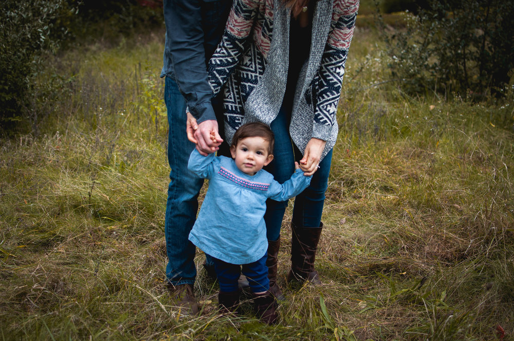 Child holds parent's hands while photographed by birth, newborn, and family photographer Brittney Hogue during an outdoor family portrait session.