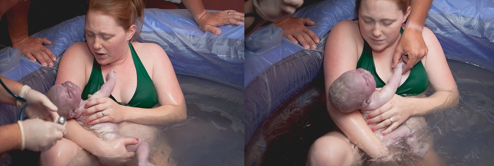 Mother rejoices in meeting her newborn after photographed water birth in Peoria, IL area.