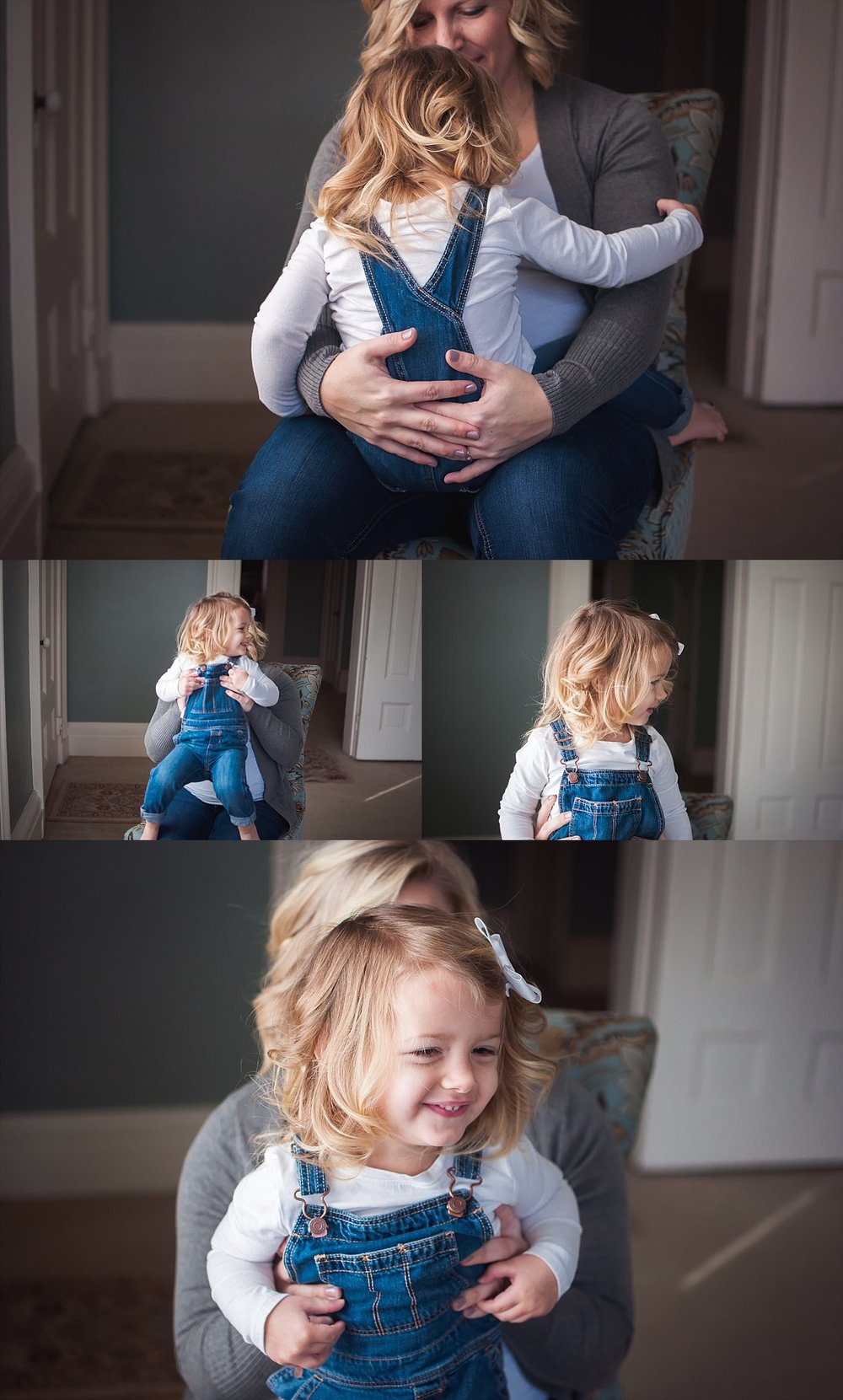 Child laughs sitting on mom's lap during family lifestyle photography session at the Mansion on Walnut in Pekin, IL.