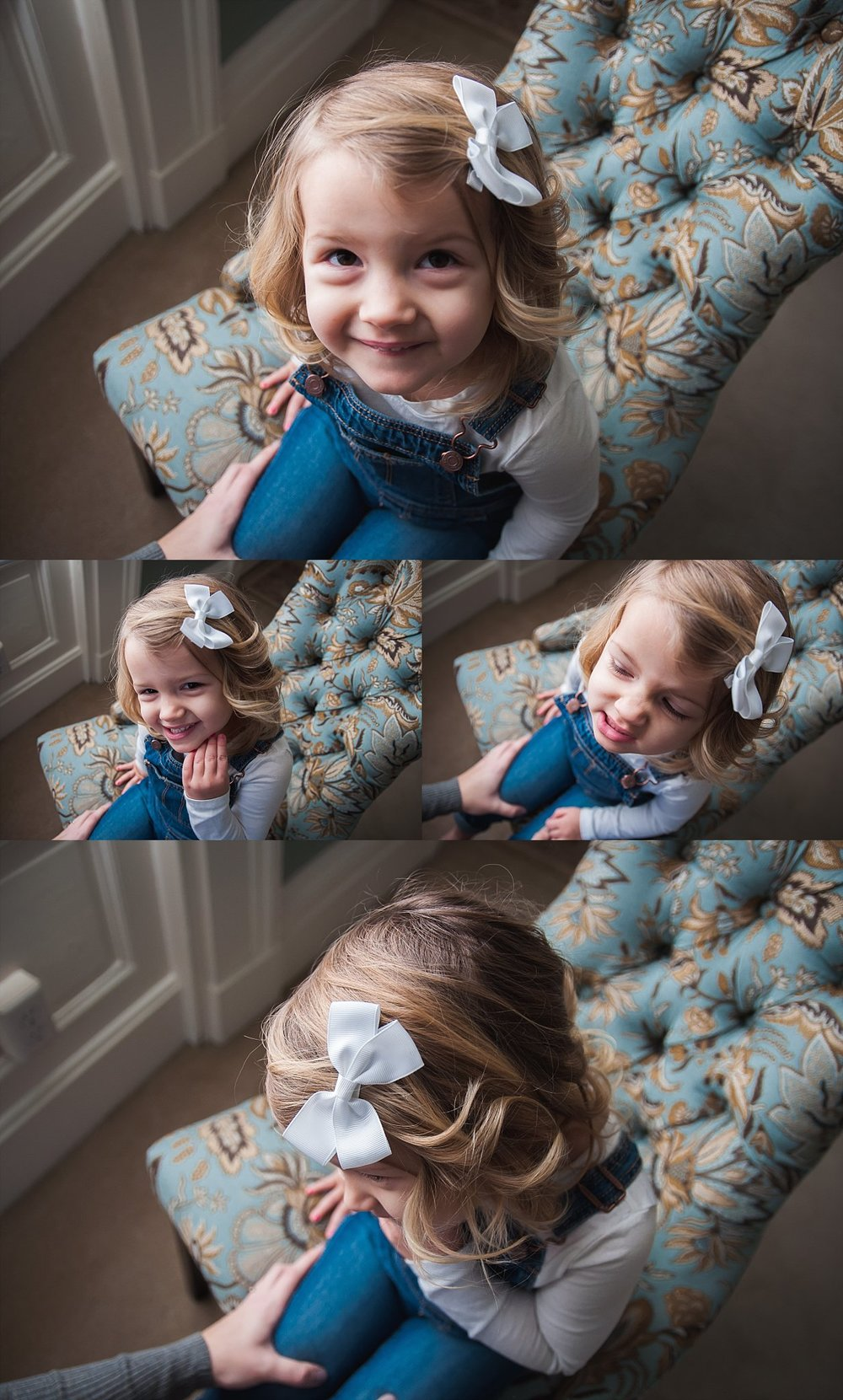 Toddler girl sits on chair and smiles during family lifestyle session with Brittney Hogue, Peoria area family lifestyle photographer.