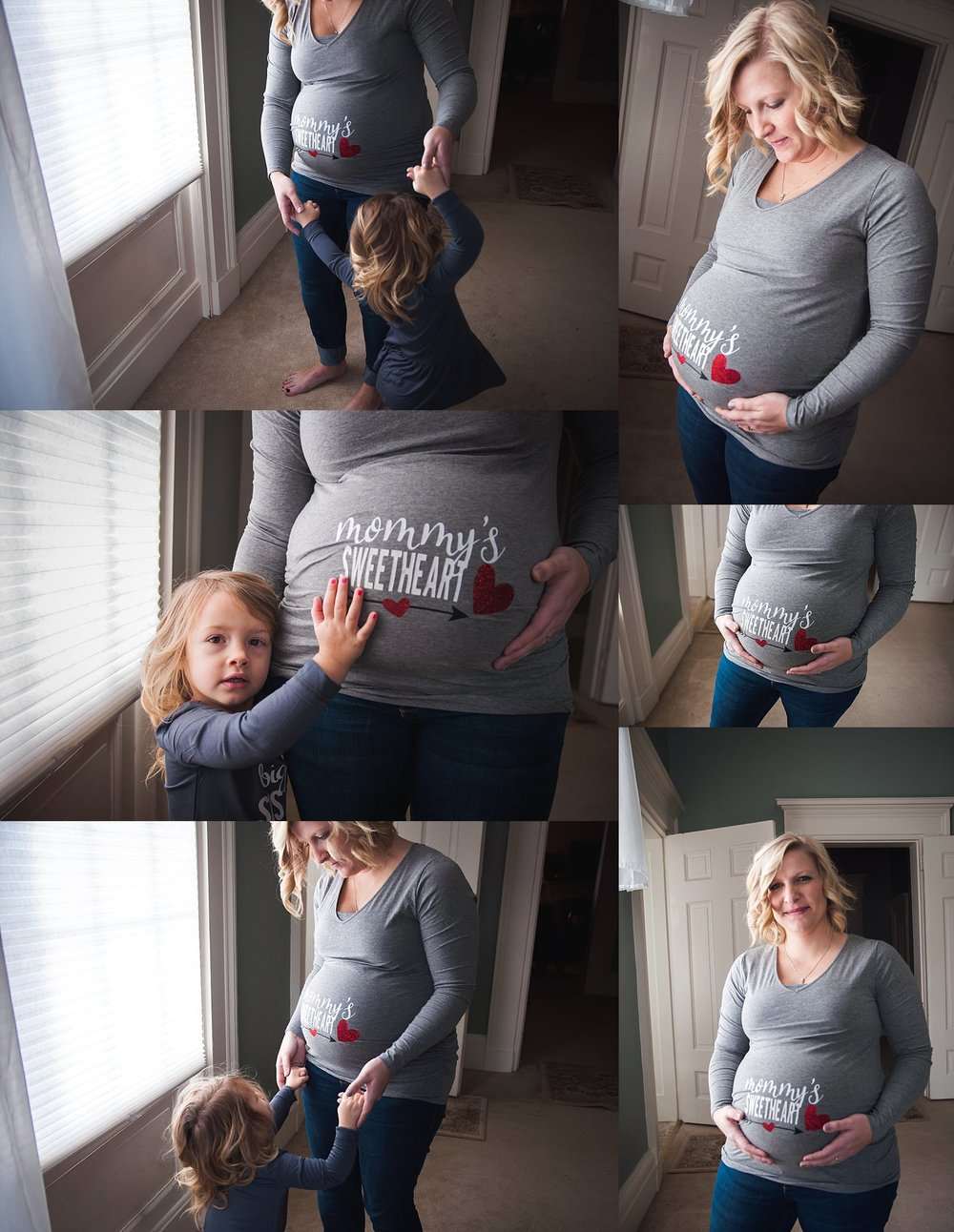 Pregnant mother dances with toddler daughter during family lifestyle session in Pekin, IL.