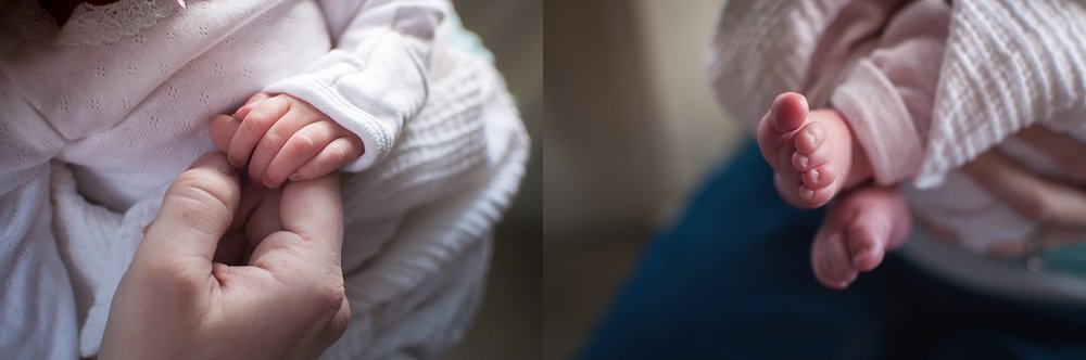 Peoria newborn displays tiny fingers and tiny toes during newborn photography session.