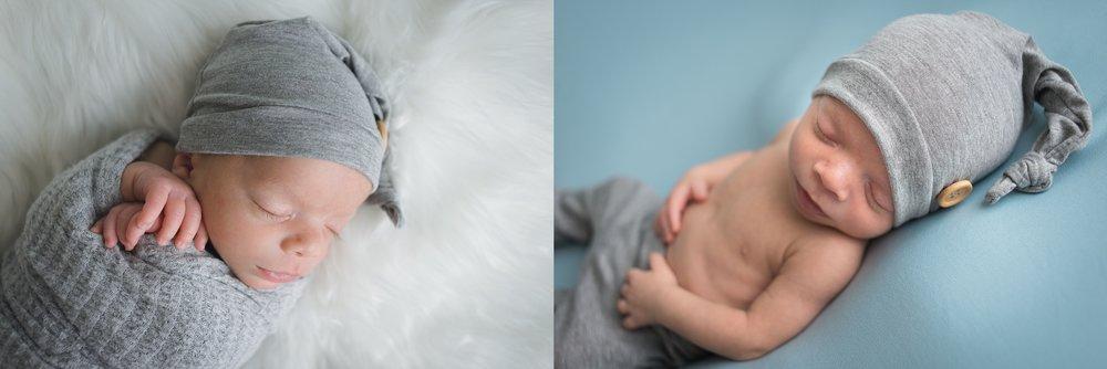 Newborn twin sleeps away during session in Pekin, IL