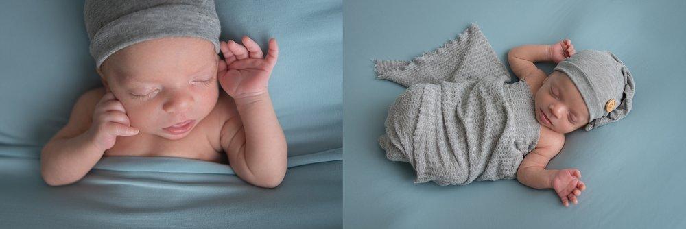 Baby boy newborn session features natural newborn posing.