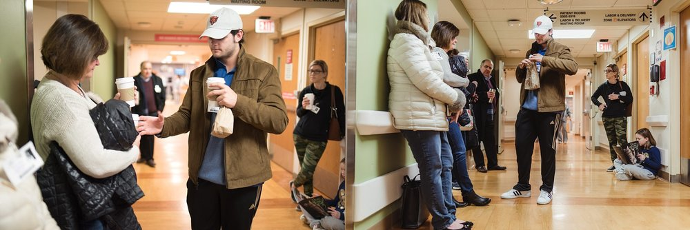 Family waits on labor floor for birth of next baby.