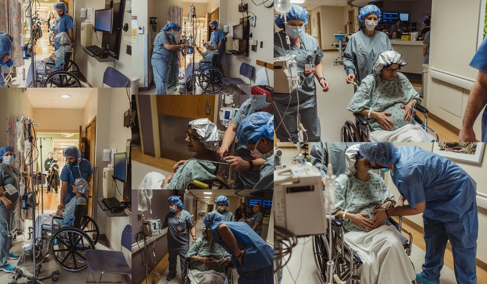 Mom and dad prepare for surgical birth at OSF Peoria. Birth Photographer Brittney Hogue