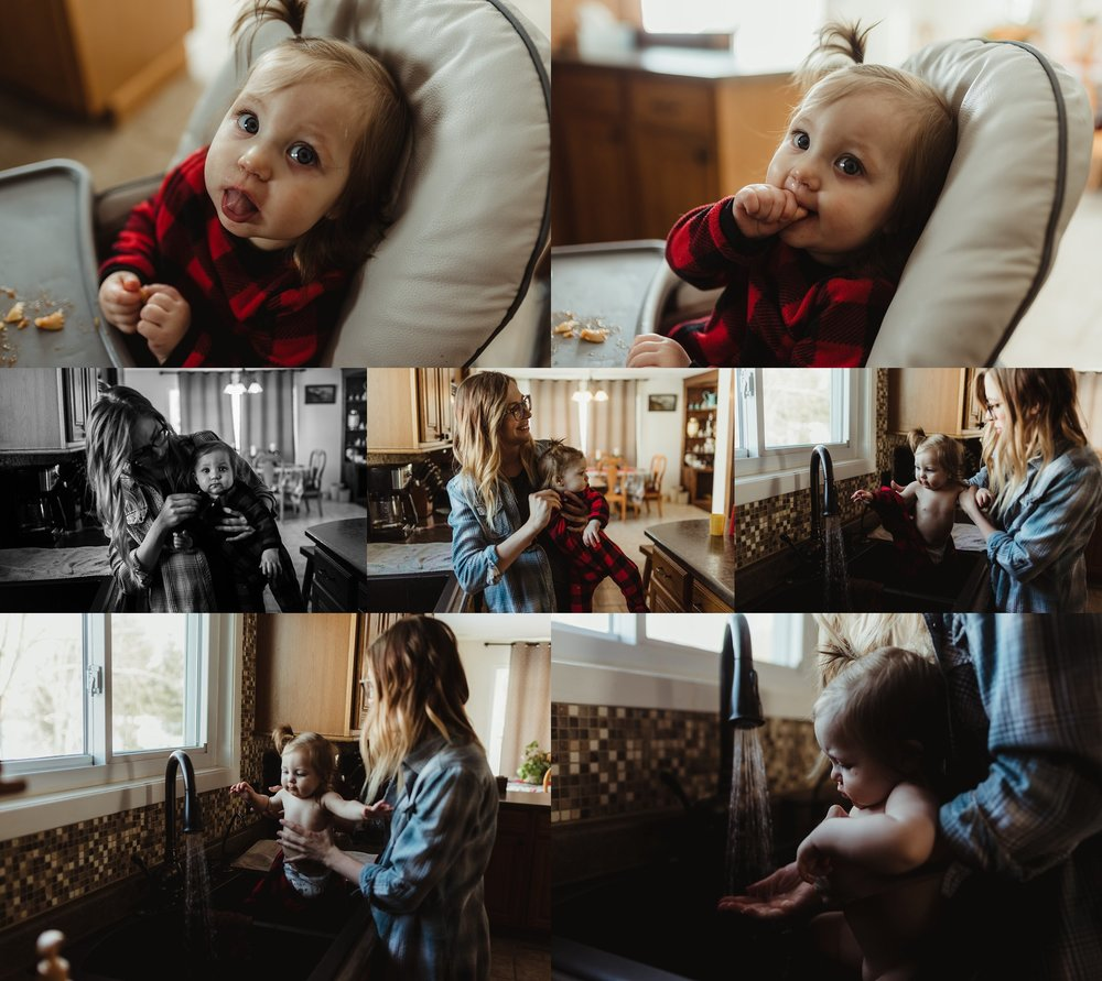 Baby eats lunch during family photography session.