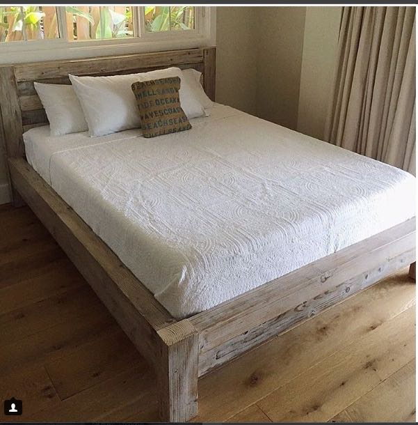 """Here is the inspiration that we were given. This bed looks like weathered douglas fir (could be something different), around 4"""" thick boards. We didn't have quick access to that lumber here in Hawaii, so we had to go with something similar."""