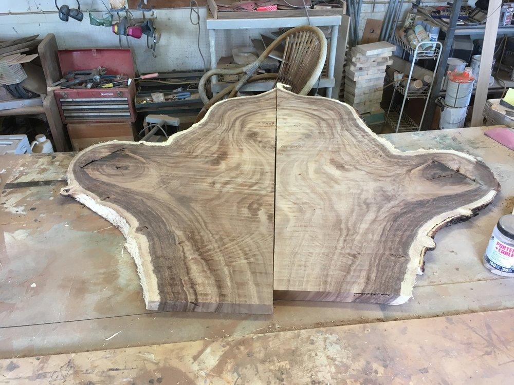 Flattened slabs mocked up for gluing