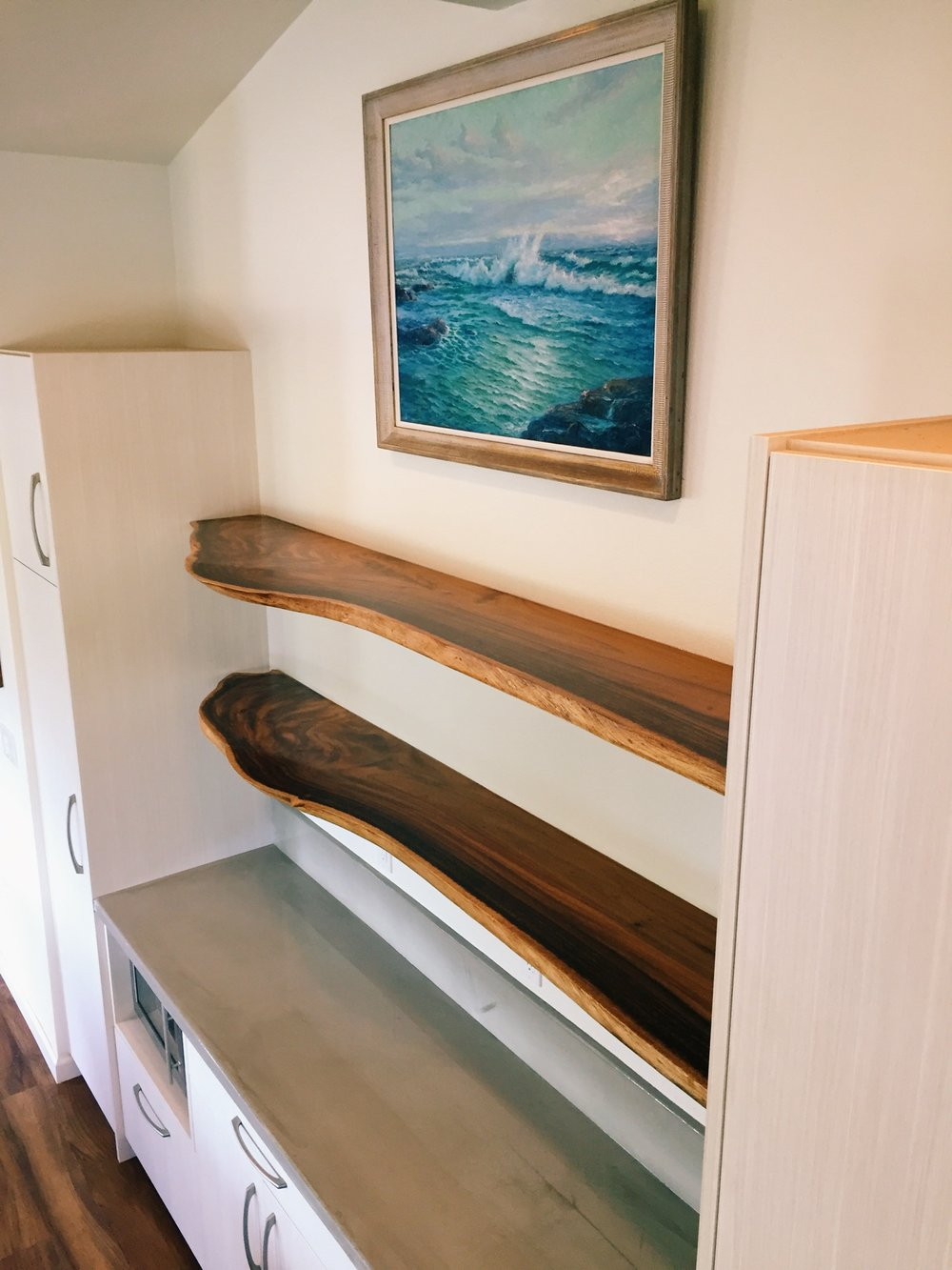 Monkeypod Live Edge Floating Shelves