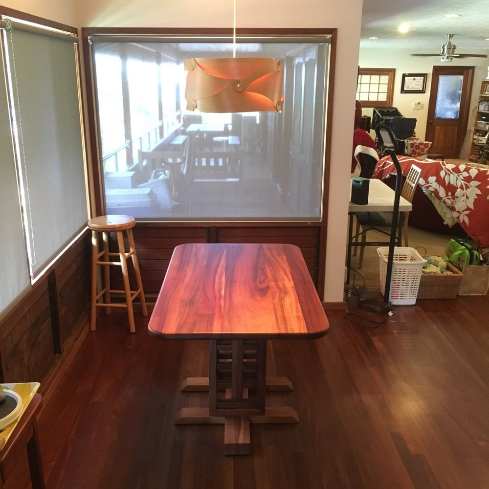 Koa kitchen table. This table was built using koa reclaimed from other parts of the house after a renovation.