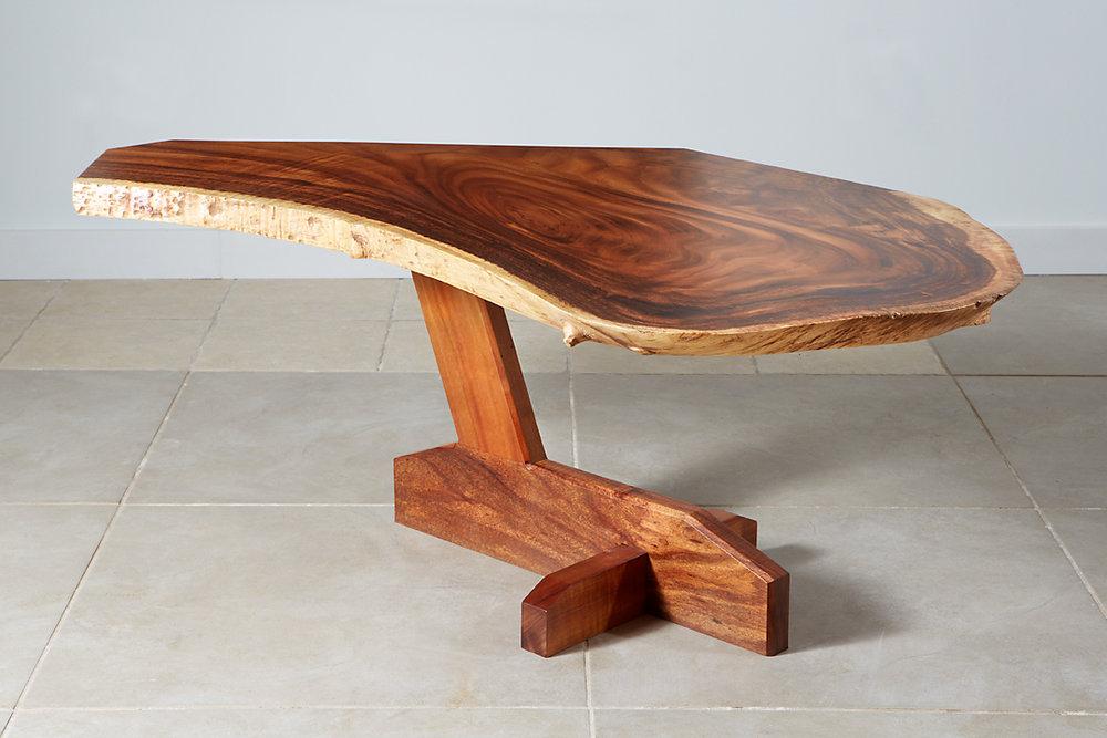 Monkeypod slab coffee table with Australian Blackwood and Hawaiian Koa base.