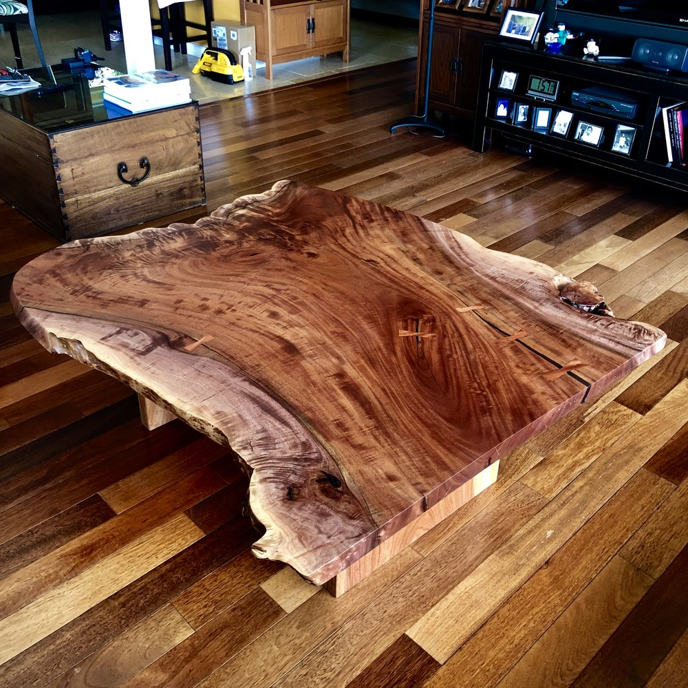 Kamani coffee table. This is a pretty special, unique slab.