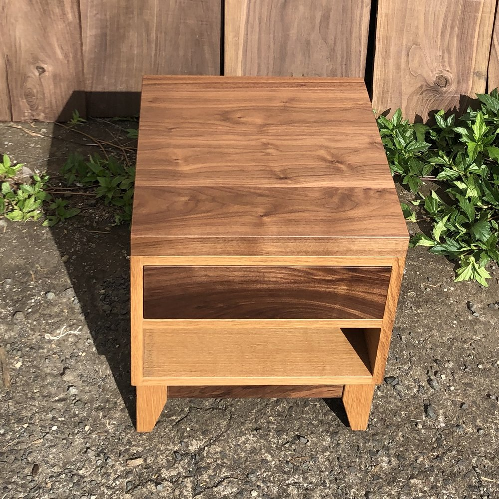 White oak and walnut side table. Check out that tight fit on the inset drawer!
