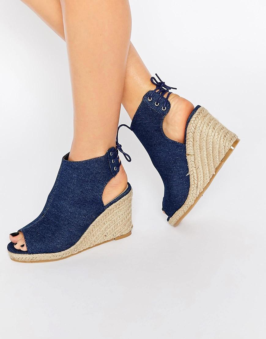 6bd0040ce607 Denim upper Lace-up heel Open heel and toe High wedge heel Do not wash