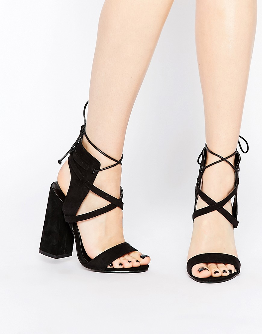 d3551bbb1b9 Suede-look upper Open toe High block heel Strappy design Lace up straps  Wipe with