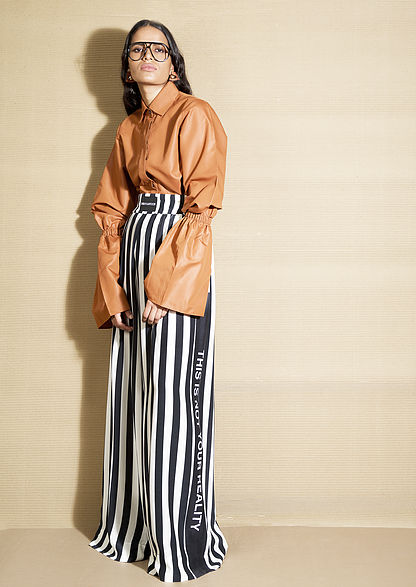 pants with stripes, black and white stripes, indian designer