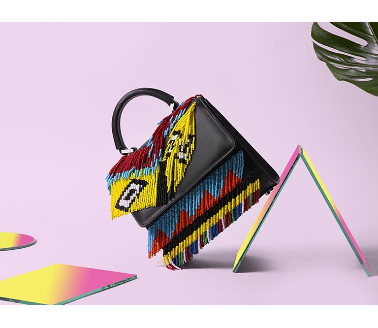 les petits joueurs, bag with beads, colorful bag, it piece