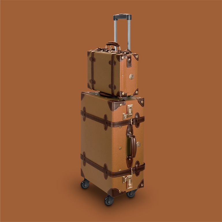 lightweight suitcase in vintage retro look retropunk desert ocher